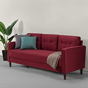 Zinus Mikhail Mid-Century Upholstered 76.4 Inch Sofa / Living Room Couch, Ruby Red Weave