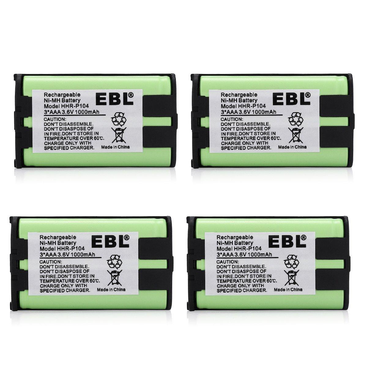 EBL 4 Pack cordless phone battery for Panasonic HHR P104 HHR P104A 900mAh 3.6V Home Batteries
