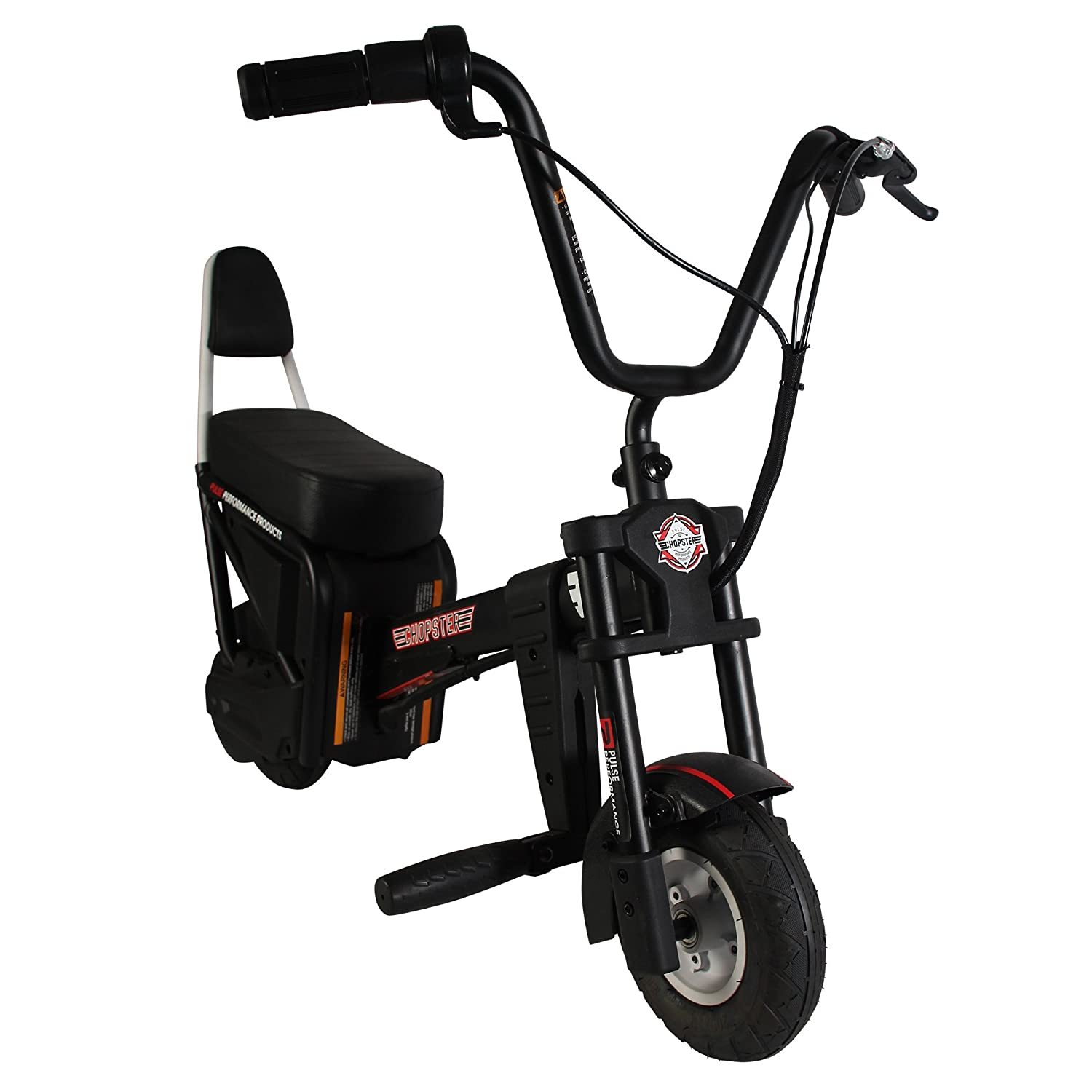 Pulse Performance Products Chopster E-Motorcycle - 24 Volt Electric Ride On  Bike for Kids - Black