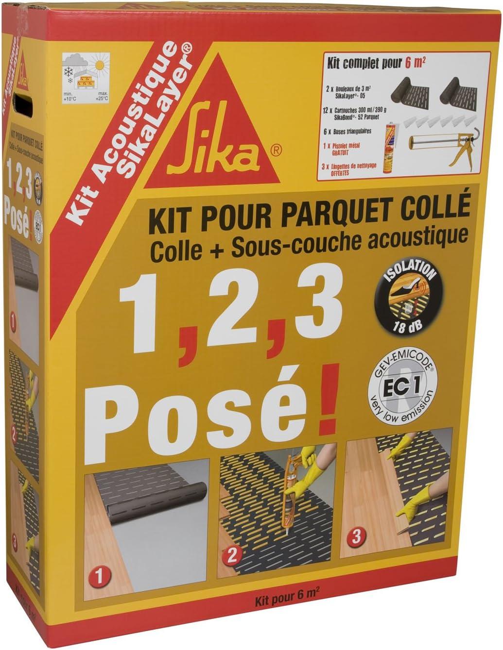 Sous-couche acoustique pour parquet sp/écial sols chauffants Marron 12m/² SikaLayer PC3