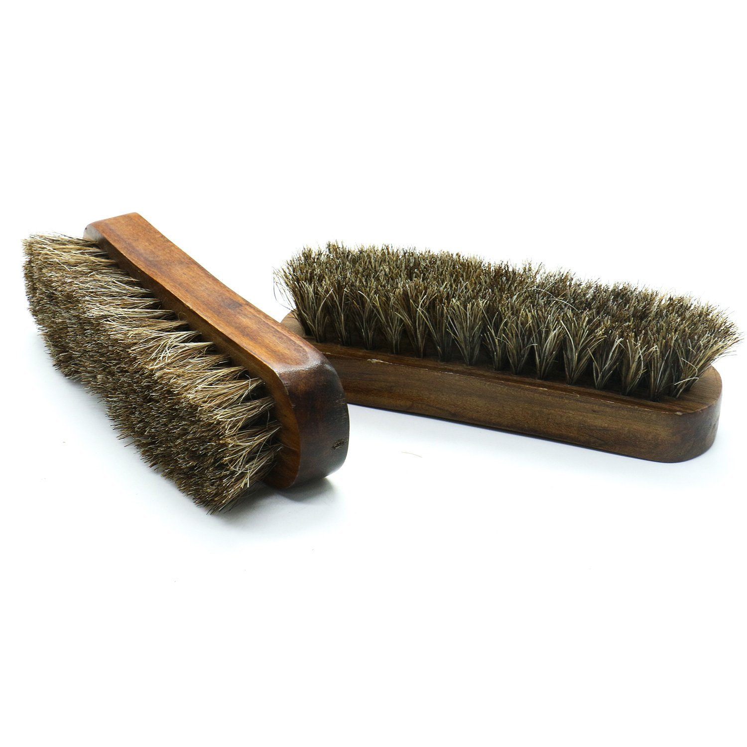 HUELE 2 Pack Horsehair Shoe Shine Brushes with Wooden Handle Horse Hair Bristles for Boots, Shoes & Other Leather Care(Brown)