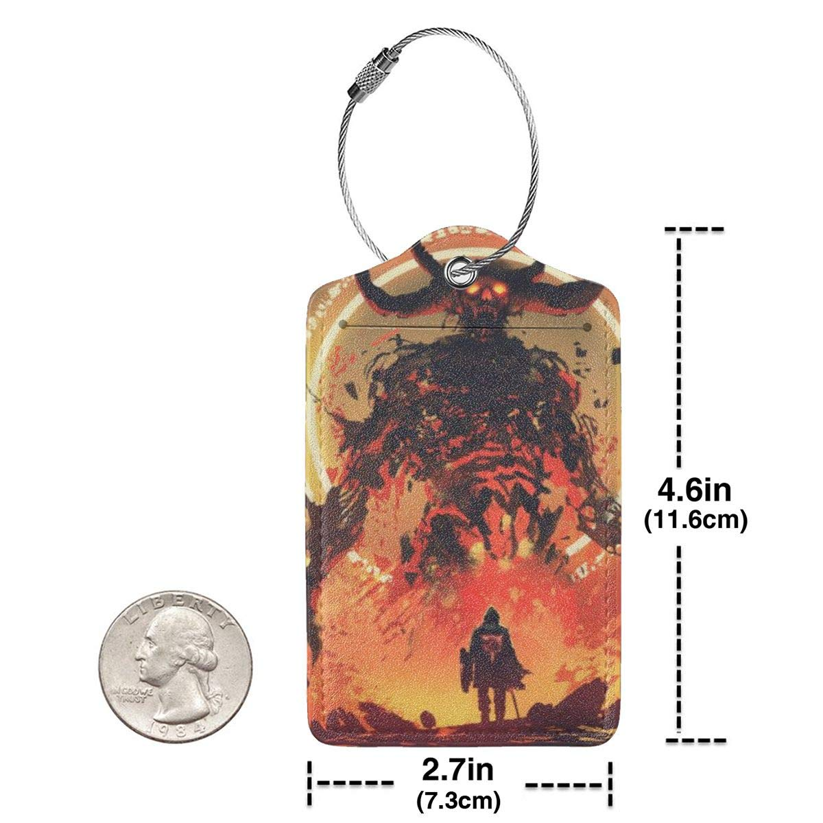 Lucaeat Knight Facing The Lava Demon Luggage Tag PU Leather Bag Tag Travel Suitcases ID