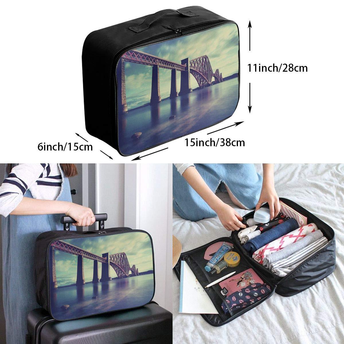 Travel Luggage Duffle Bag Lightweight Portable Handbag Bridge Pattern Large Capacity Waterproof Foldable Storage Tote