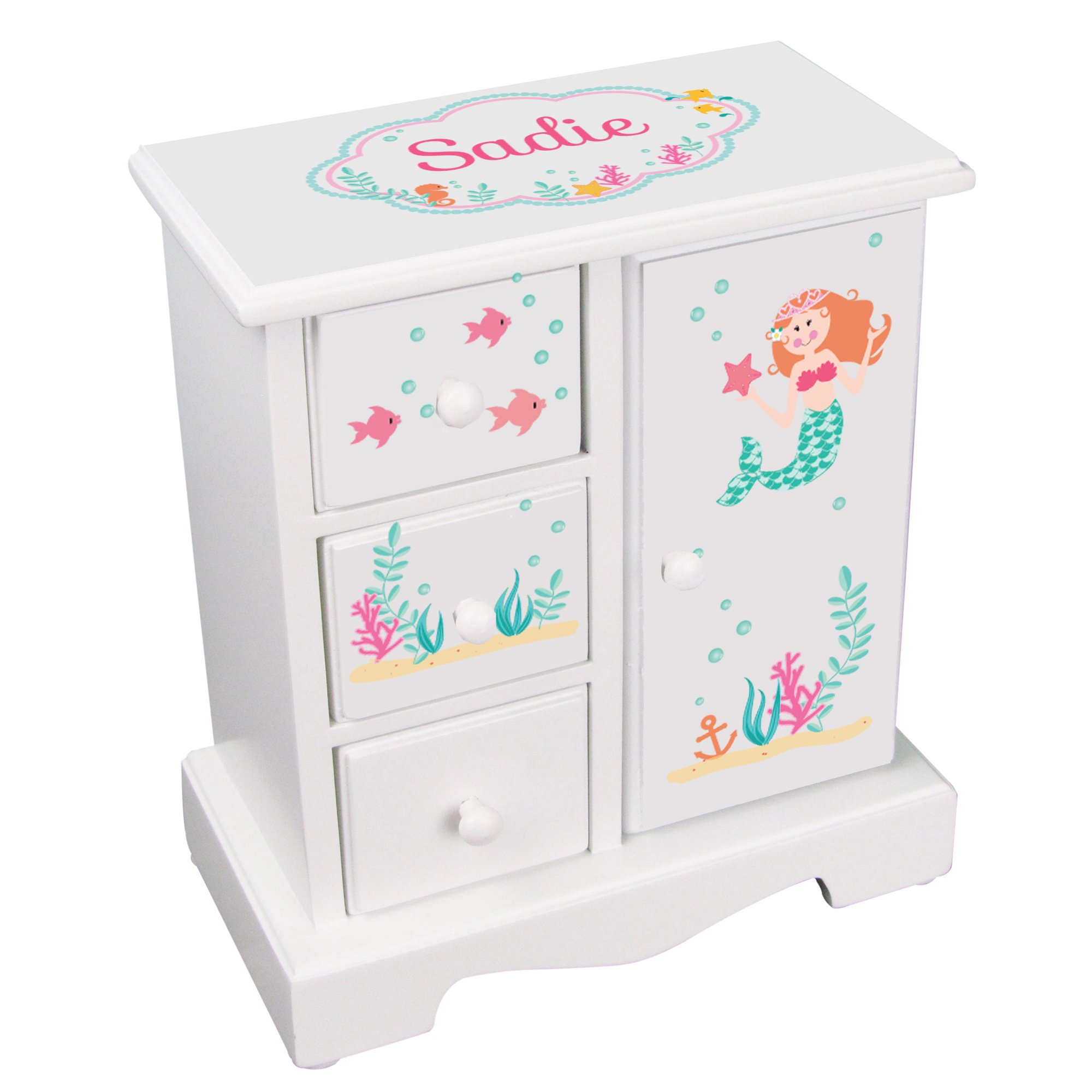Personalized Girls Jewelry Armoire with Mermaid Red Hair Design