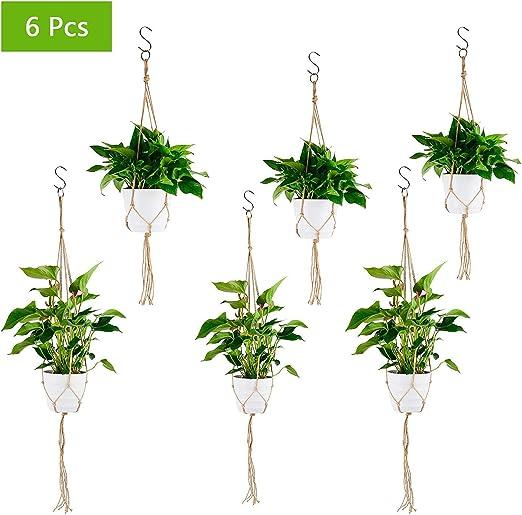 Herefun 6 Piezas Colgador para Plantas Soporte de Macetas, Macramé Plantas Colgador, Macetas de Planta Suspensión para Jardín Plantas Interior Jardín Hogar Decoracion: Amazon.es: Hogar