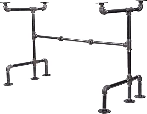 Industrial Pipe Desk Leg Set by Pipe Decor, Modern Home Office Table Writing or Computer Base Kit, Dark Grey Black Rough Pipes, Rustic Vintage Furniture Unfinished Steel Metal Pipe Legs, M-Desk Style