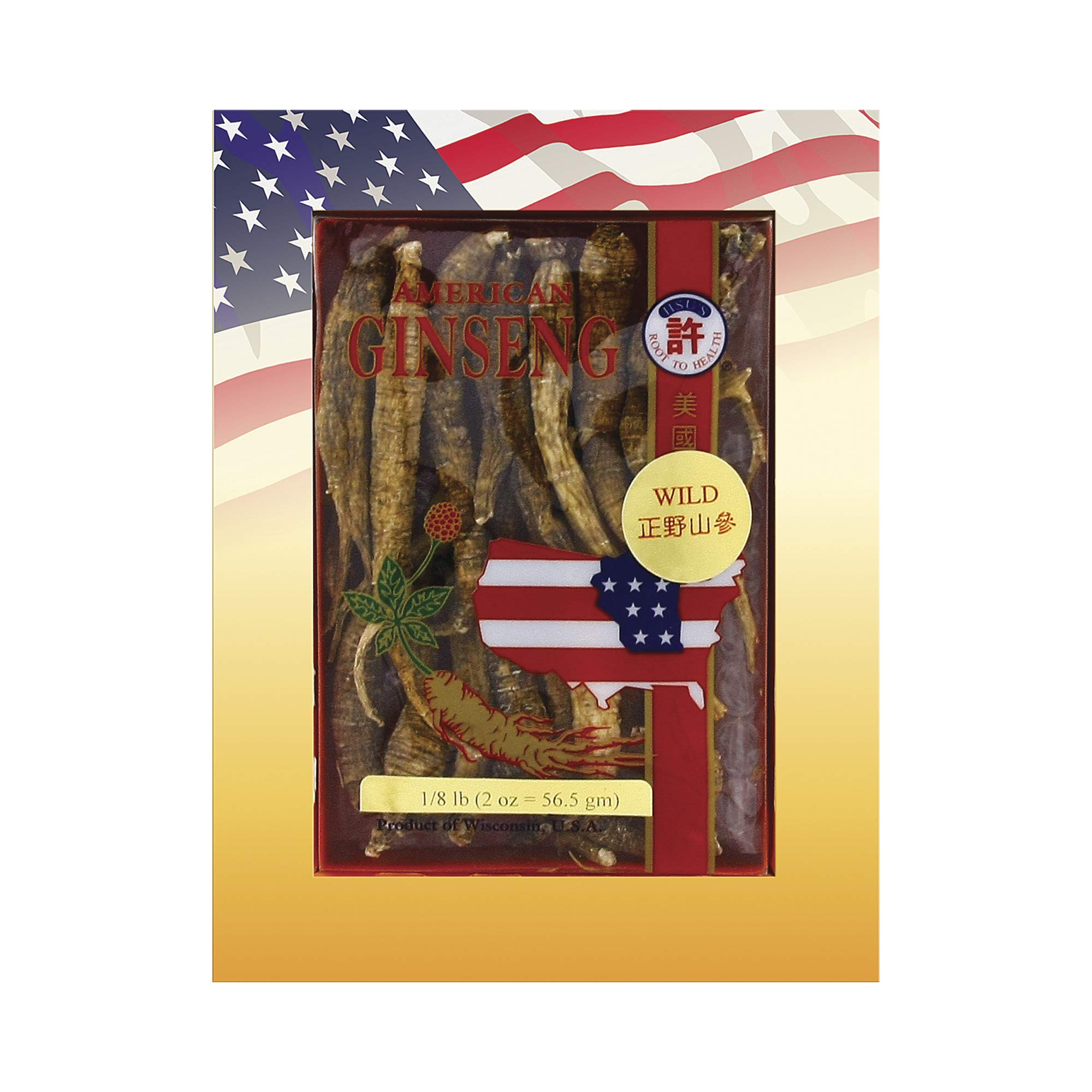 Hsu's Ginseng SKU 0301-2 | Wild Long Large | Wild American Ginseng | 许氏花旗参正野山參長型大號 | 2 oz Box, 西洋参, 野山參