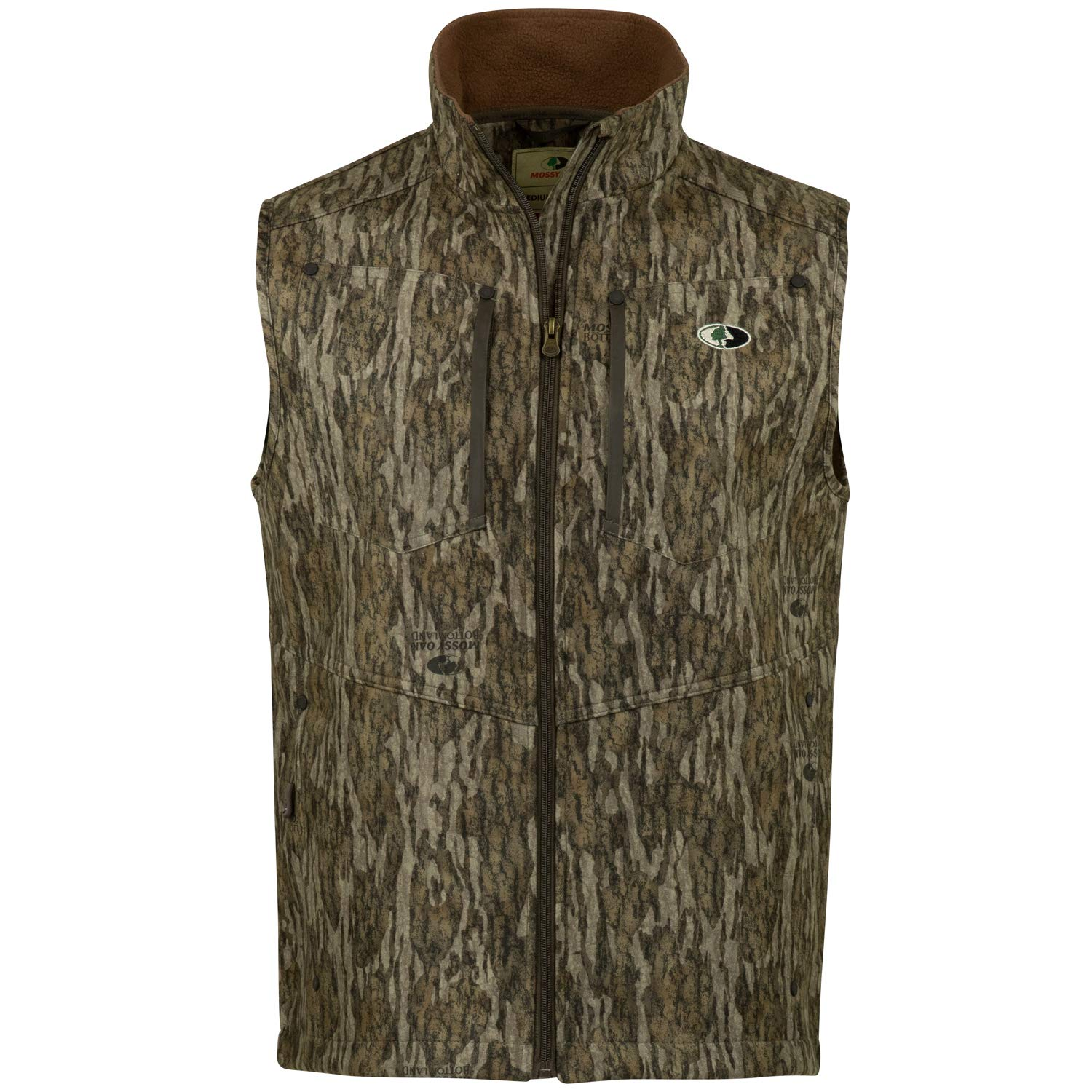 Mossy Oak Men's Camo Sherpa 2.0 Fleece Lined Hunting Vest, Bottomland, XX-Large by Mossy Oak