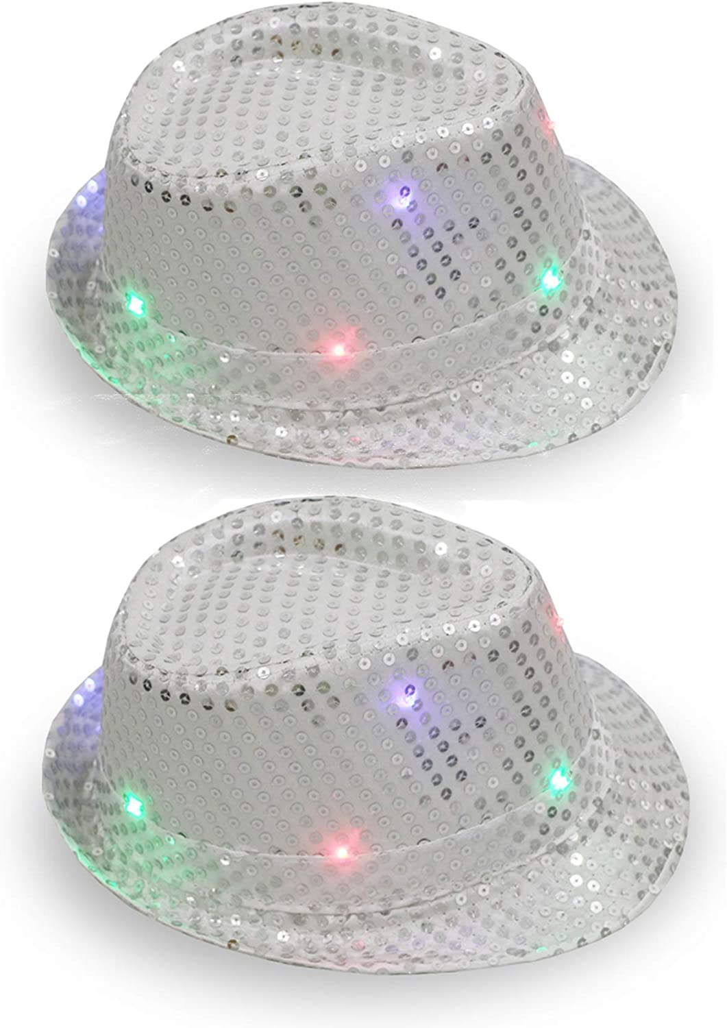 CHRISTMAS LED Flashing LightUp Sequin Fedora Hats CHOOSE YOUR COLOR!