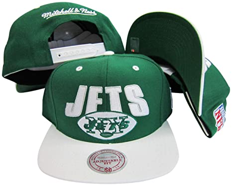 6ff9252a7 Image Unavailable. Image not available for. Color: Mitchell & Ness New York  Jets Green/White Two Tone Plastic Snapback ...