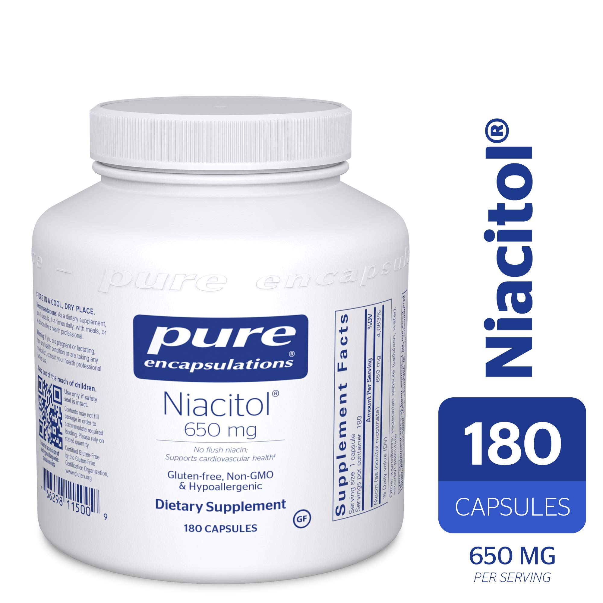 Pure Encapsulations - Niacitol 650 mg - Hypoallergenic No-Flush Niacin to Support Digestion, Hormone Synthesis, and Tissue Formation* - 180 Capsules by Pure Encapsulations