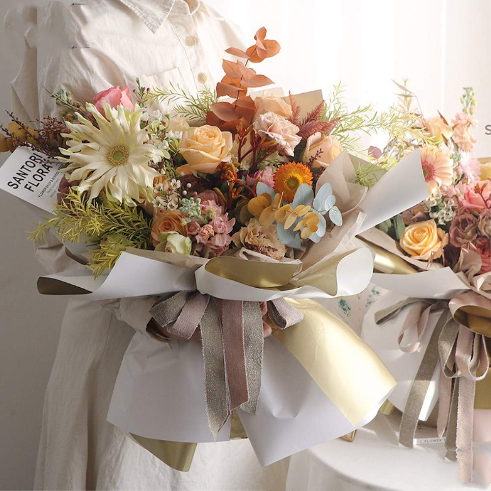 Double Sided Golden Flower Wrapping Paper Waterproof Gift Packaging Florist Bouquet Wraps 2 20 Sheets 23.6X23.6 Inch