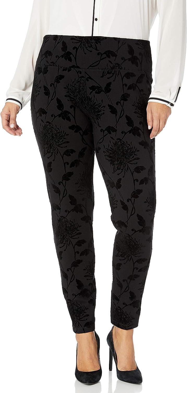 SLIM-SATION Women's Plus Size Pull-on Over Flocked Ponte Legging