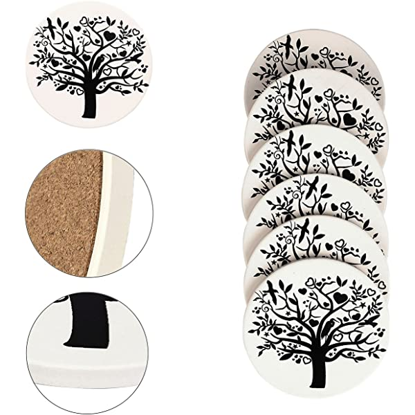Absorbent Ceramic Stone Coaster,Yoption Set of 6 Absorbent Coaster with Cork Backing for Drinks,Desktop Protection Prevent Furniture Damage,Table Decorations Cup Mat Holder Sunflower, Round