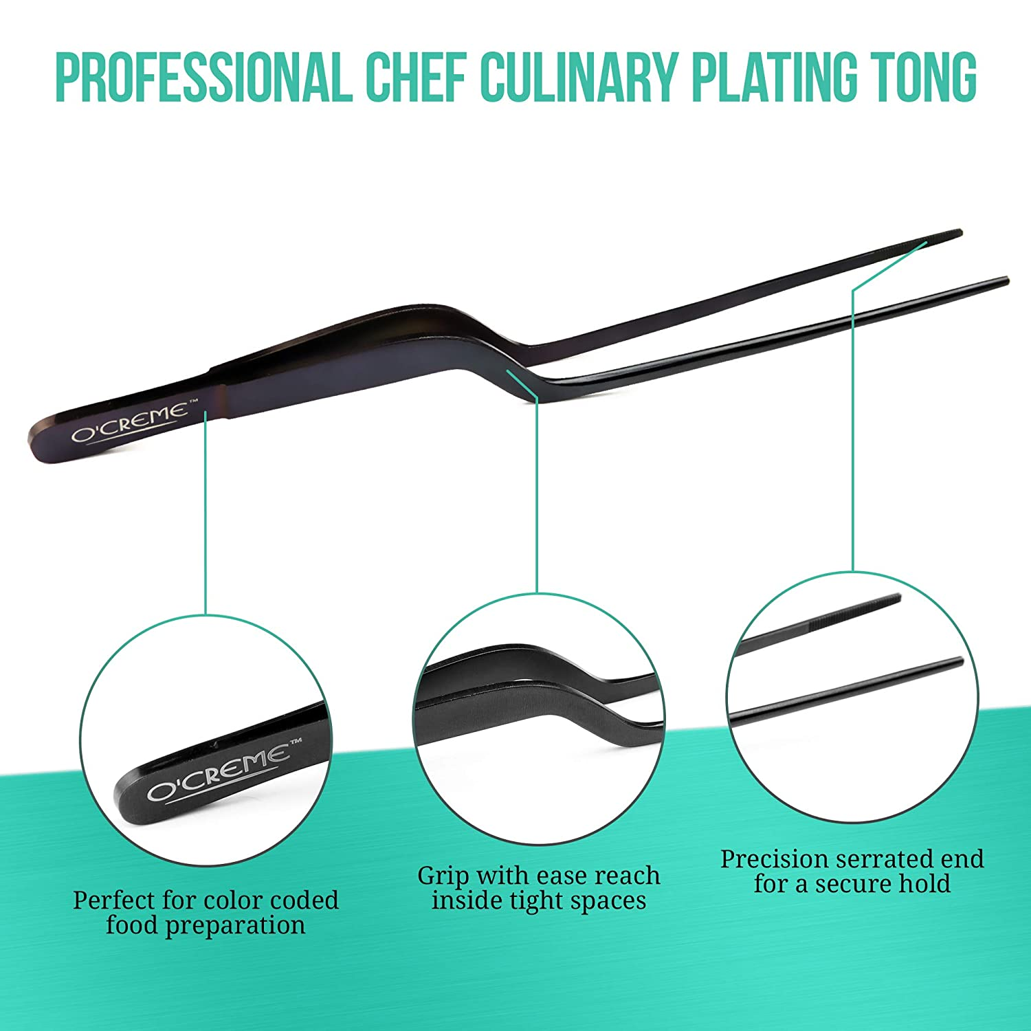 OCreme 8 Inch Blue Stainless Steel Precision Kitchen Culinary Offset Tweezer Tongs