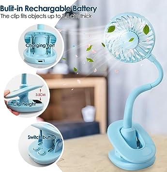 WD/&CD Mini USB Desk Fan 720/° Rotation Portable Desktop Fan 3 Speeds Table Fan Gradient LED Light 800mAh Clip on Stroller Fan for Prams Pushchairs Buggies Home Office-Black