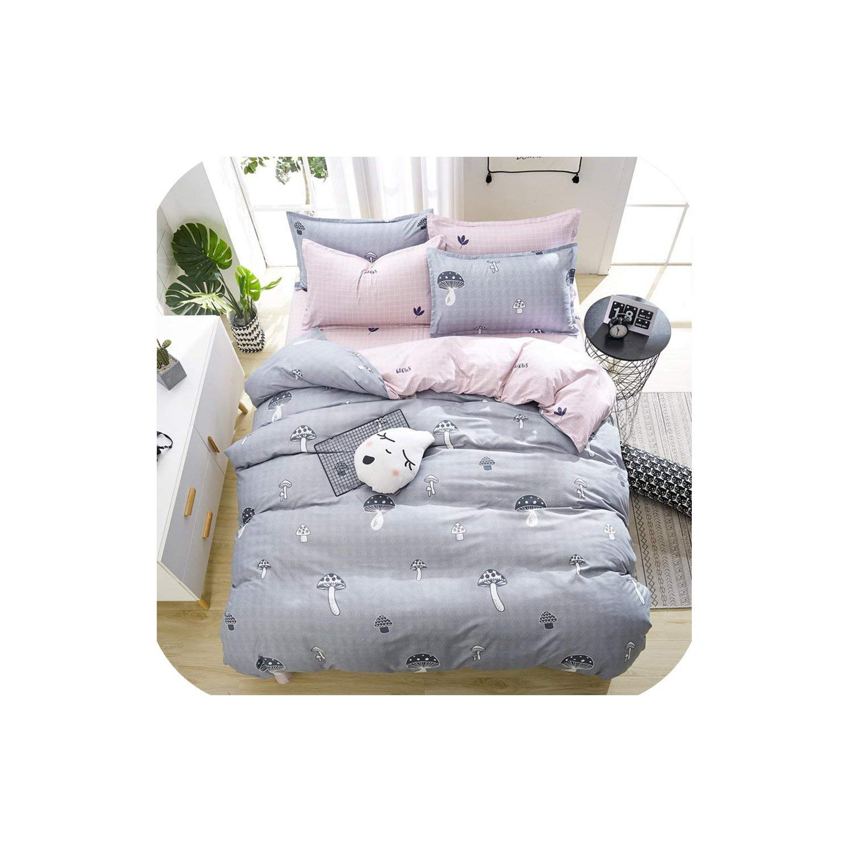 LOVE-JING Pink Dandelions Home Bedding Set Pattern Flat Sheet Duvet Cover Bed Sheet Pillowcase King Queen Full Twin Size,4,Queen Cover 180By220,Flat Bed Sheet