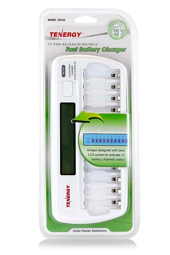Amazon Tenergy TN160 12 Bay AA AAA NIMH NICD LCD Smart Battery Charger Home Audio Theater