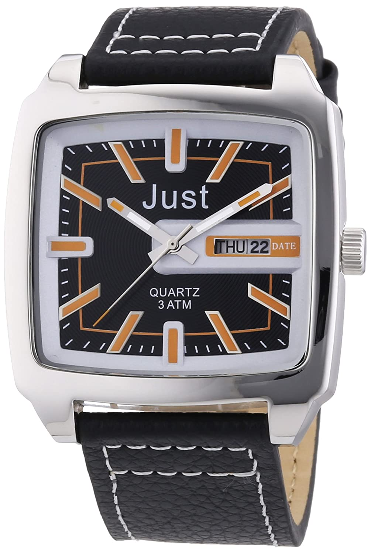 Just Watches 48-S3726-BR - Reloj analógico de Cuarzo para Hombre, Correa de Cuero Color Negro