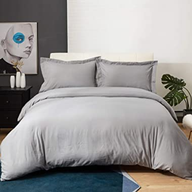 Bedsure Grey Duvet Cover Set with Zipper Closure, Washed Process Microfiber - Ultra Soft King Size(104x90 inches) -3 Pieces (1 Duvet Cover + 2 Pillow Shams)