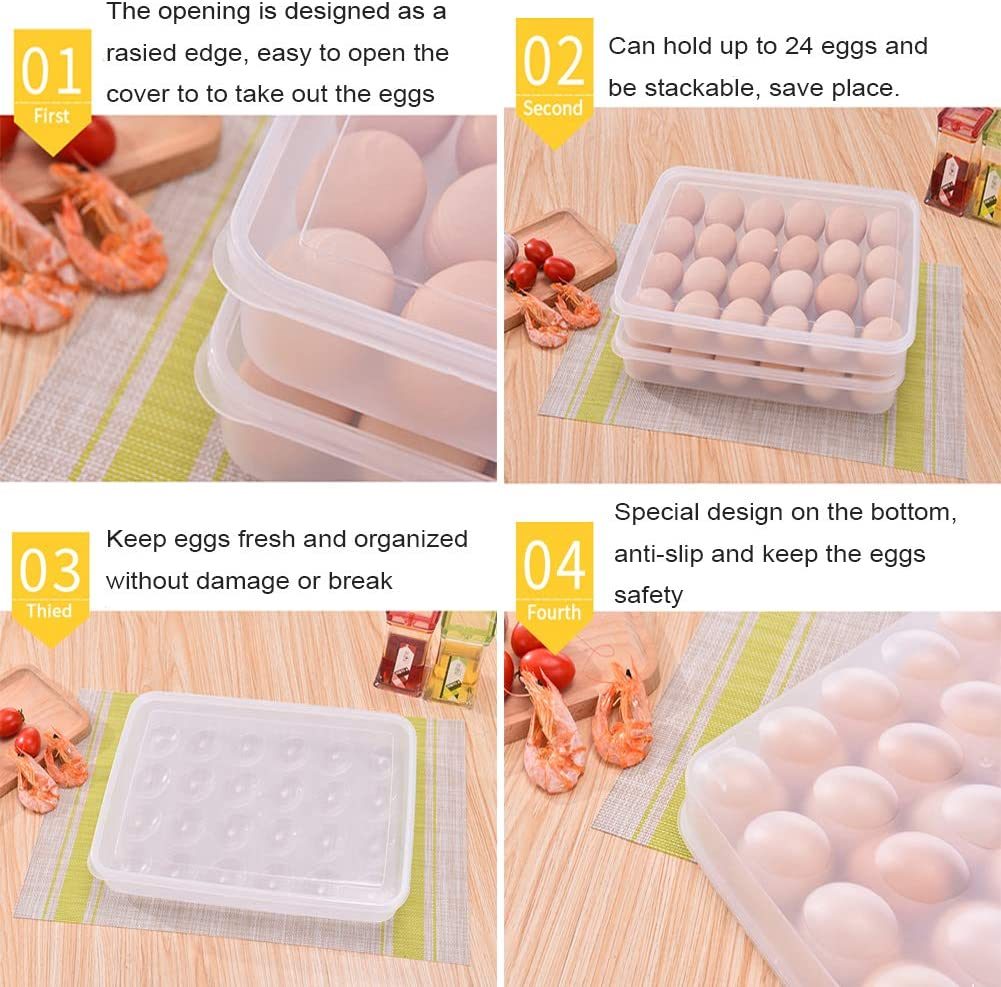 Holds up to 24 Eggs Deviled Egg Tray Carrier Stackable Egg Containers Holoras Plastic Egg Holder for Refrigerator