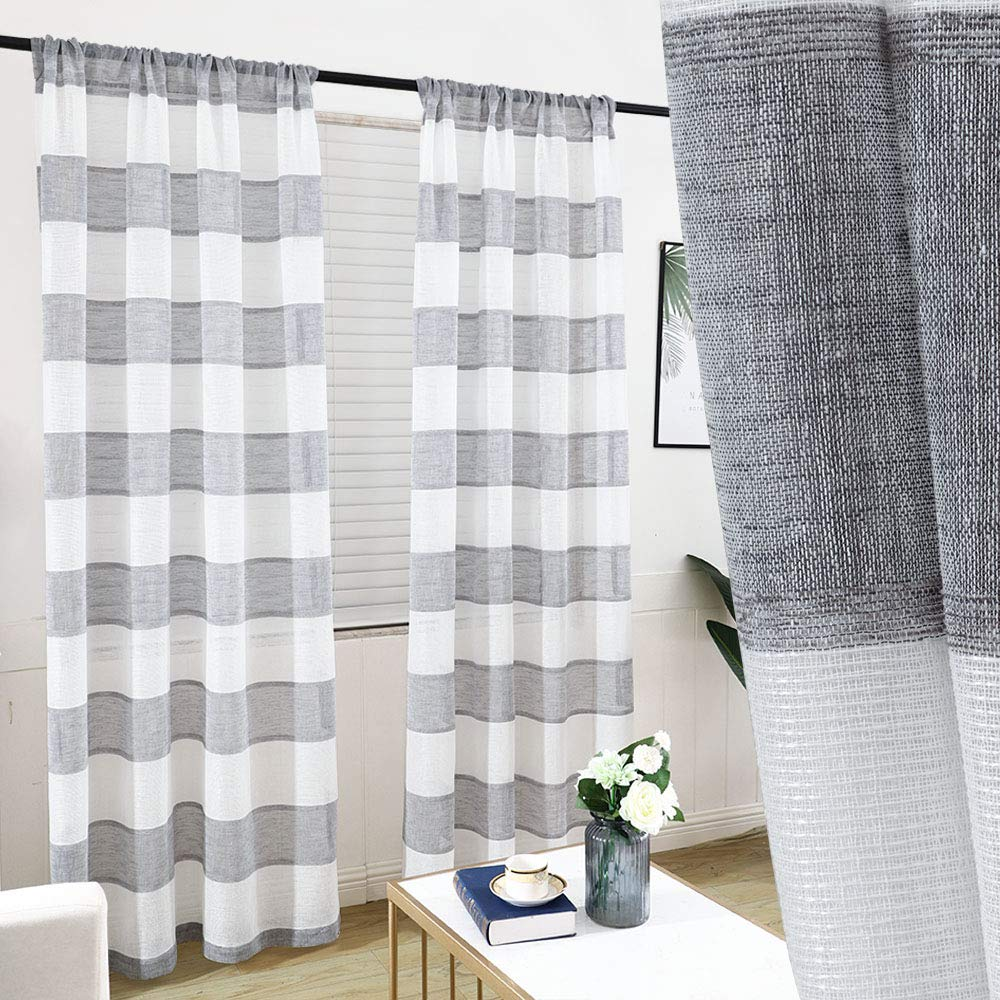 GRALI Faux Linen Striped Sheer, Light Filter Semi Voile Curtains for Farmhouse, Rod Pocket Curtains 84 Inch Length (Dove Grey, 1 Pair, 52 Wide Each Panel by GRALI