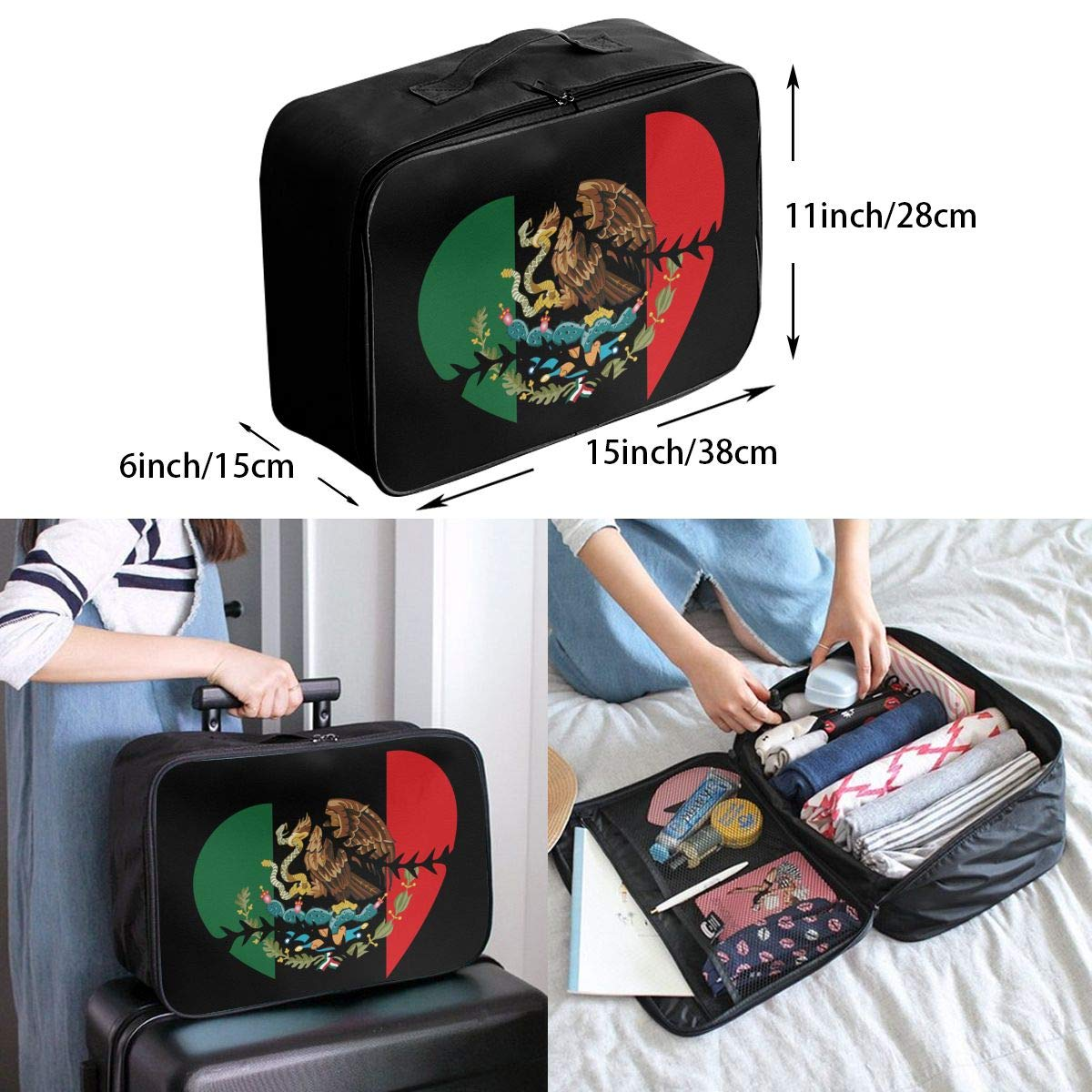 YueLJB Mexico Eagle Flag Heart-01 Lightweight Large Capacity Portable Luggage Bag Travel Duffel Bag Storage Carry Luggage Duffle Tote Bag