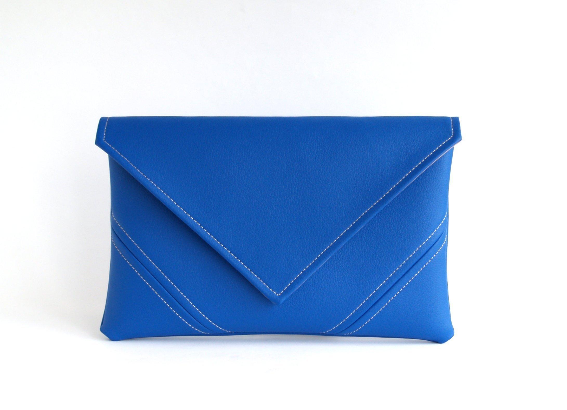 Royal Blue Clutch Bag Handmade Cobalt Vegan Bag Vegan Leather Clutch Purse Bridesmaid Clutch Vegan Purse Gift For Her Evening Bag Leather Purse