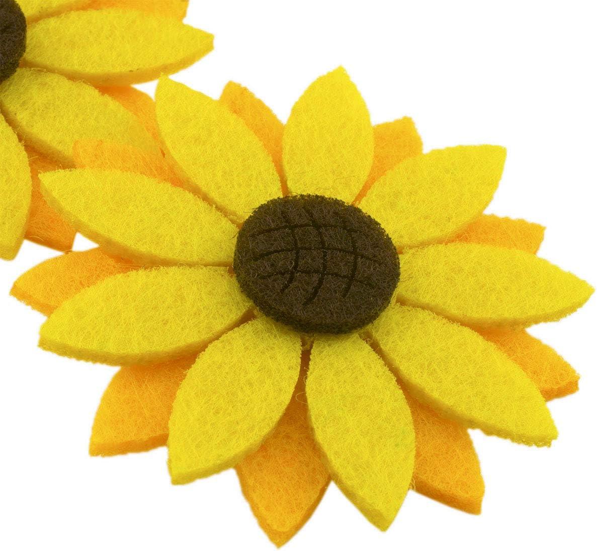 Die Cut Floral Craft Embellishments pack of 8 Triple Layered Felt Flowers