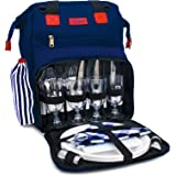 Rolio Picnic Backpack for 4 Person, Insulated Cooler Compartment, 2 Bottle Holders, Complete Stainless Steel Cutlery Set…