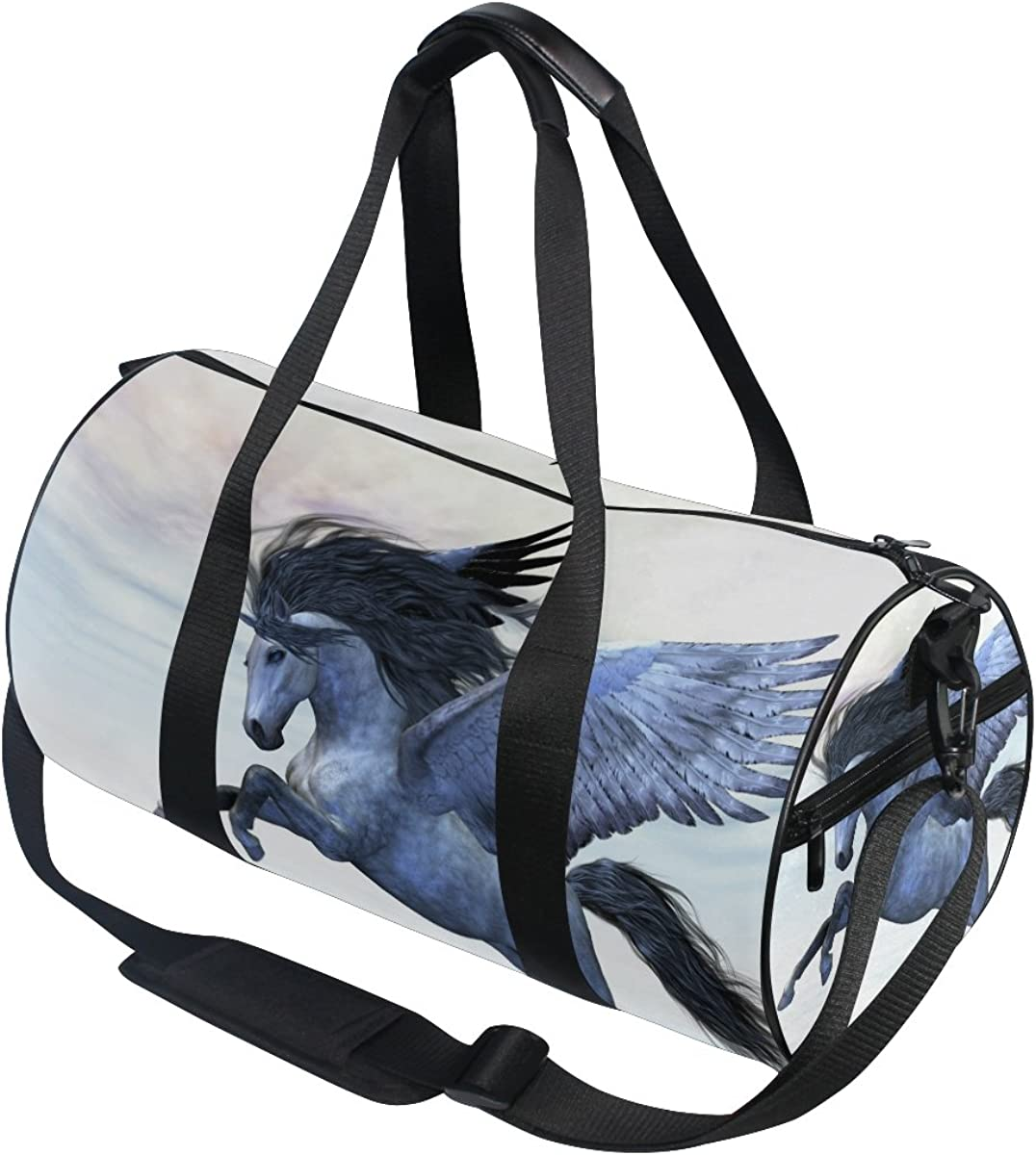 Evolutions Silver Pegasus Unicorn Duffels Bag Sports Gym Bags for Men /& Women