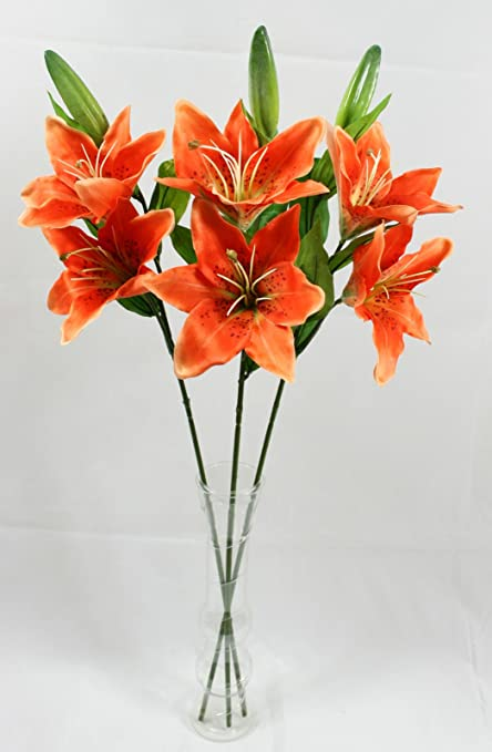 Artificial Lily Spray 3 Orange Stem Realistic Looking Flowers Amazon Co Uk Kitchen Home