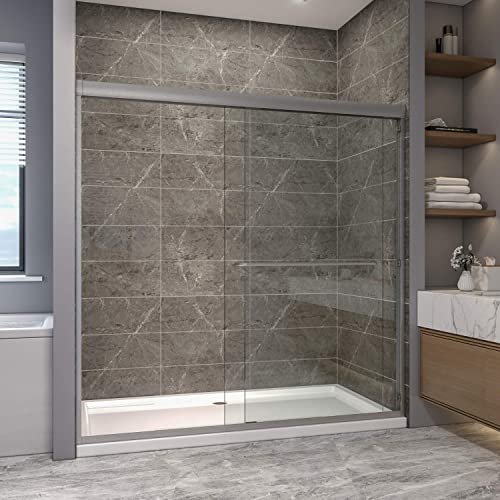 SUNNY SHOWER Semi-Frameless Shower Doors, 5 16 in. 8mm Clear Glass Double Sliding Shower Screen, 72in. W x 72 in.H, Brushed Nickel Finish