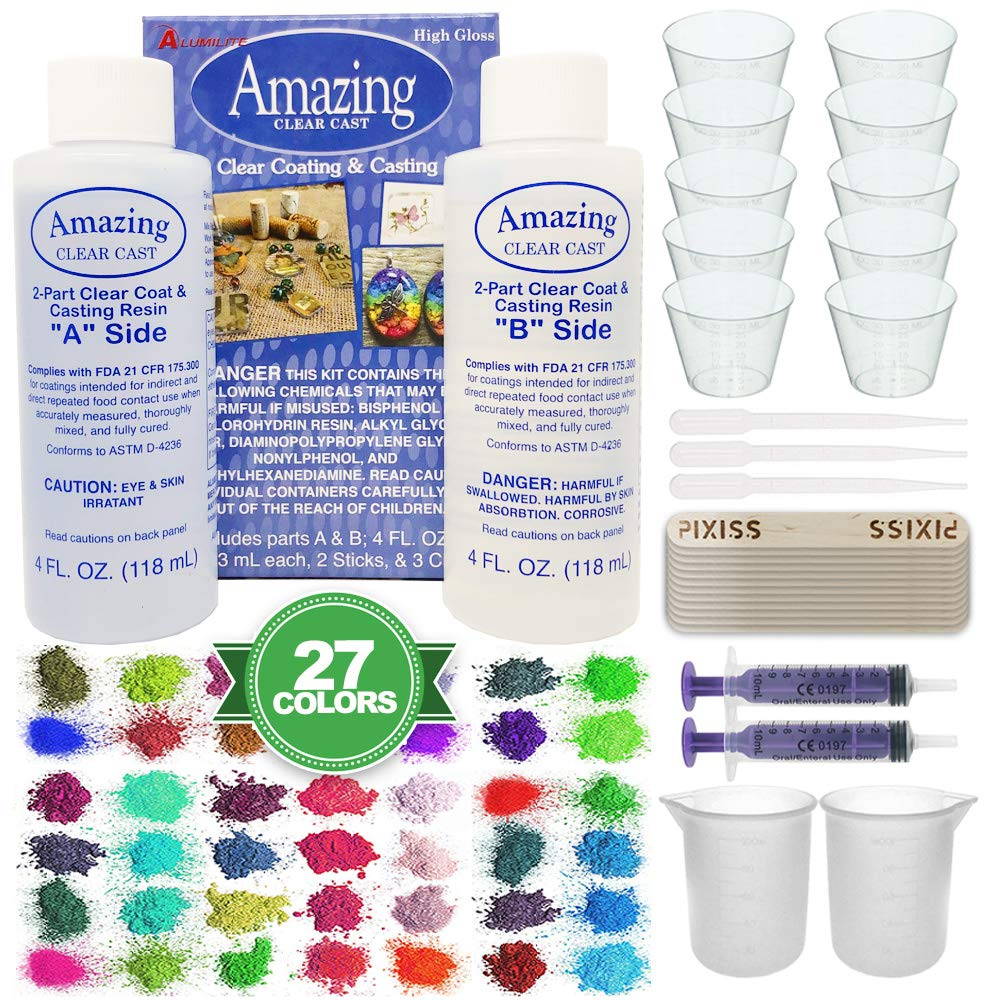 Amazing Clear Cast Bundle - Amazing Clear Cast Resin 8-Ounce, Pixiss 27 Colors Resin Tinting Mica Powders (Assorted Colors), Pixiss Mixing Sticks, 2X 100ml Silicone Measuring Cups, 2X 10ml Syringes