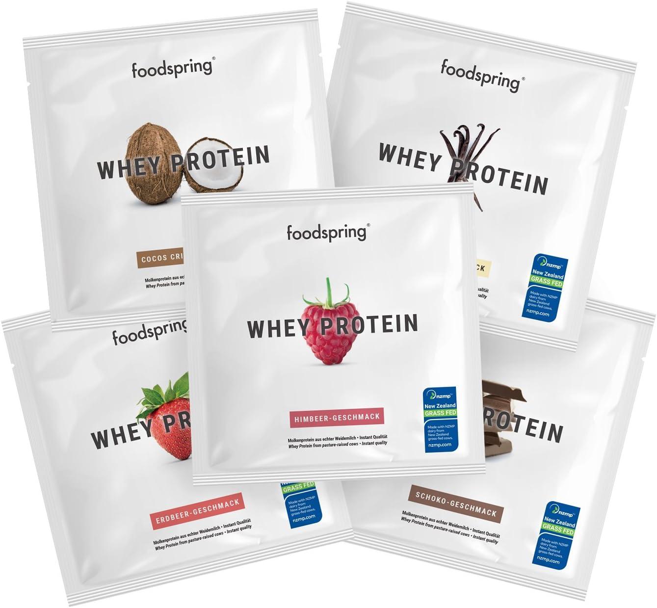 foodspring Proteína Whey para llevar en pack de 5, Proteína ...