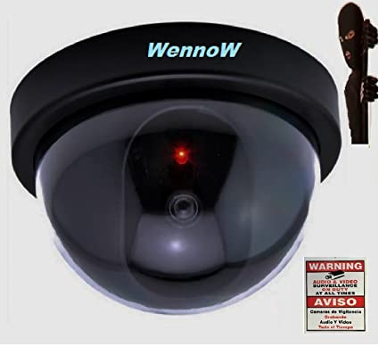 WennoW Dummy Fake Surveillance Security Dome Imitation In/Outdoor Camera w/Flashing LED
