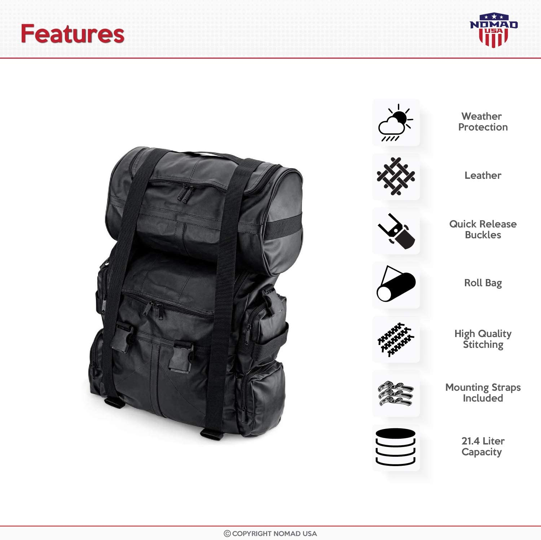Nomad USA Bags Aero Expandable Motorcycle Sissy Bar Bag