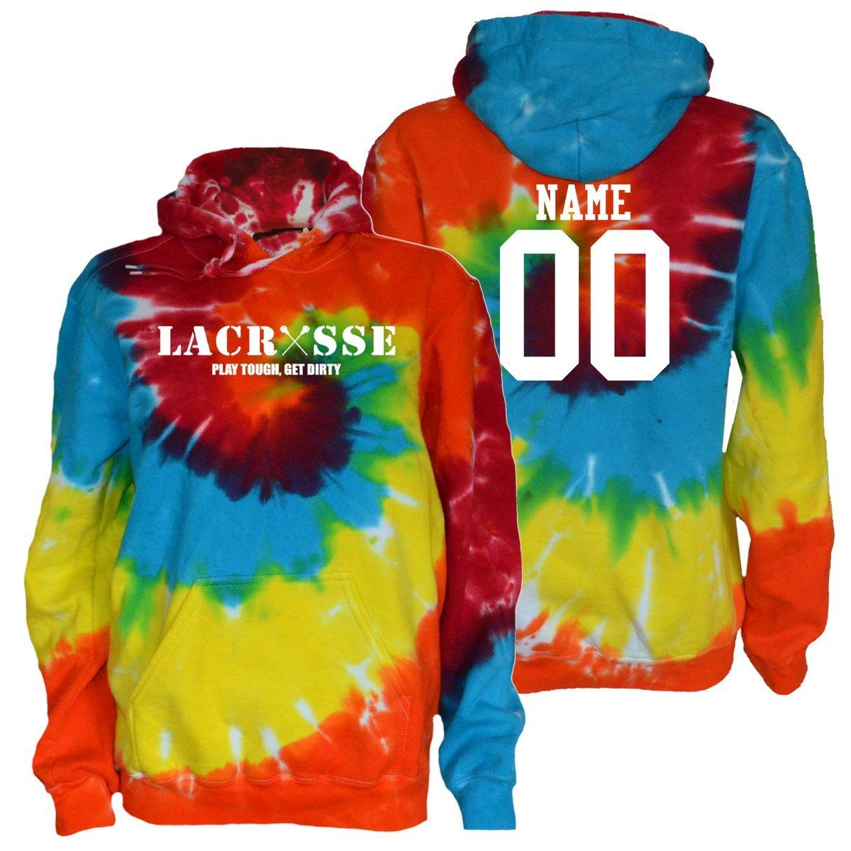 JANT girl Custom Lacrosse Tie Dye Sweatshirt - Lacrosse Play Tough Get Dirty White Logo (Rainbow Twist, YM)