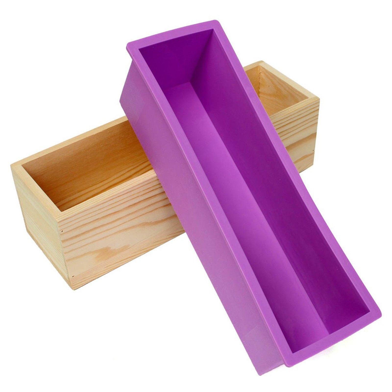 Ogrmar 42oz Flexible Rectangular Soap Silicone Loaf Mold With Wood Box DIY Tool For Soap Cake Making Supplies (Purple)