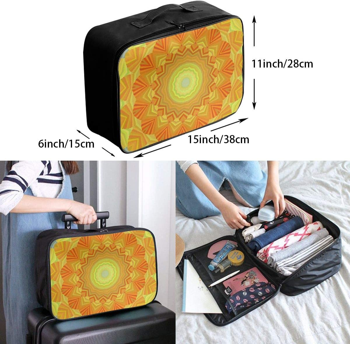 Yunshm Sunshine Sunny Sun Abstract Yellow Bright Customized Trolley Handbag Waterproof Unisex Large Capacity For Business Travel Storage