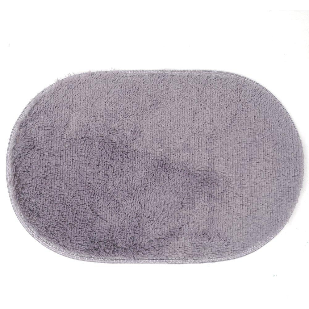 Hinmay Shaggy, carino ovale velluto tappeto per camera da letto, soggiorno addensare coperta tappetino, 40*60cm/15.7* 23.6in grigio, #2, Taglia libera
