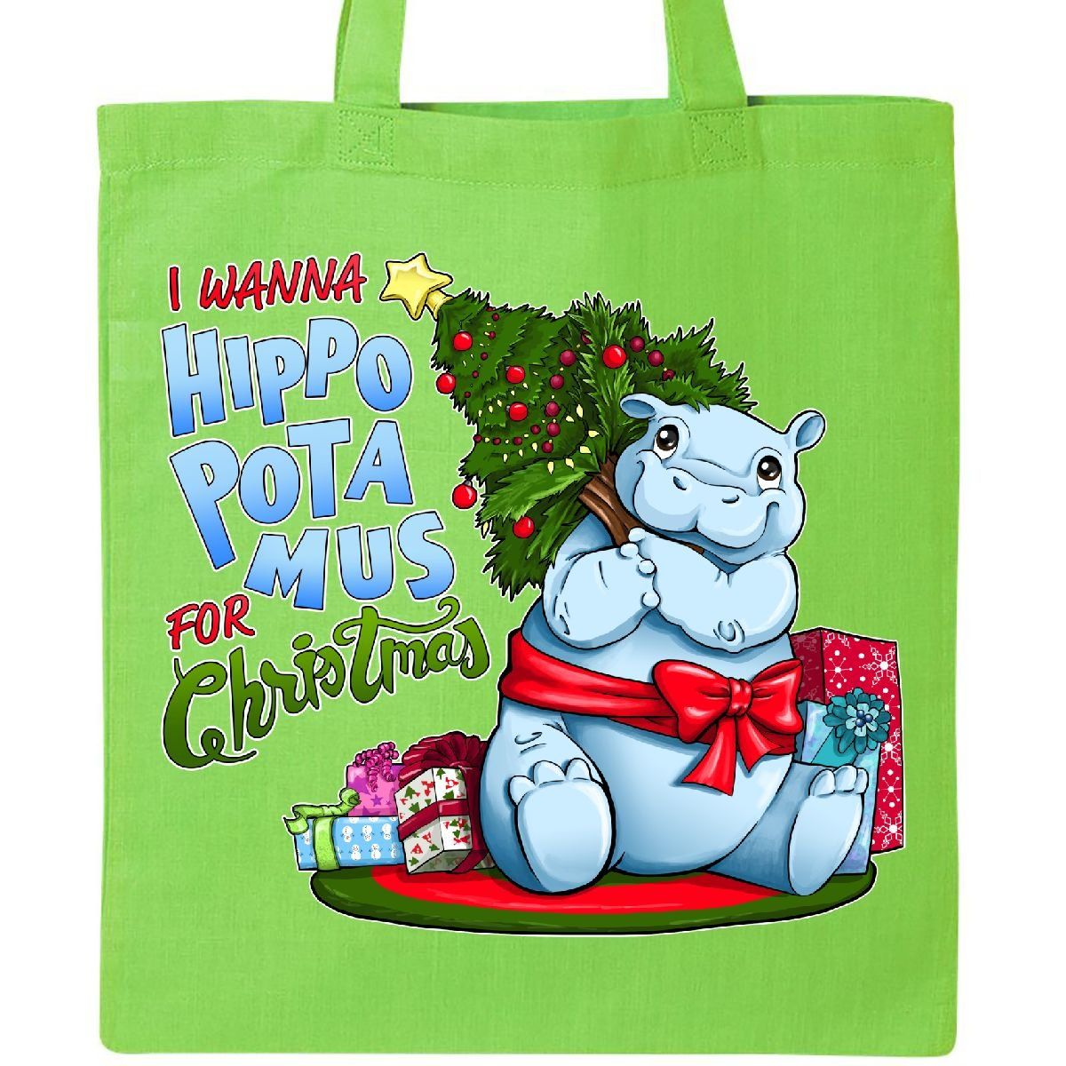 ファッション Inktastic – I WANNA WANNA Hippopotamus For christmas-キュートHippoトートバッグ I B076HB6Z87 One Size ブルー B076HB6Z87 ライムグリーン ライムグリーン, シチジョウマチ:4a16a66f --- 4x4.lt