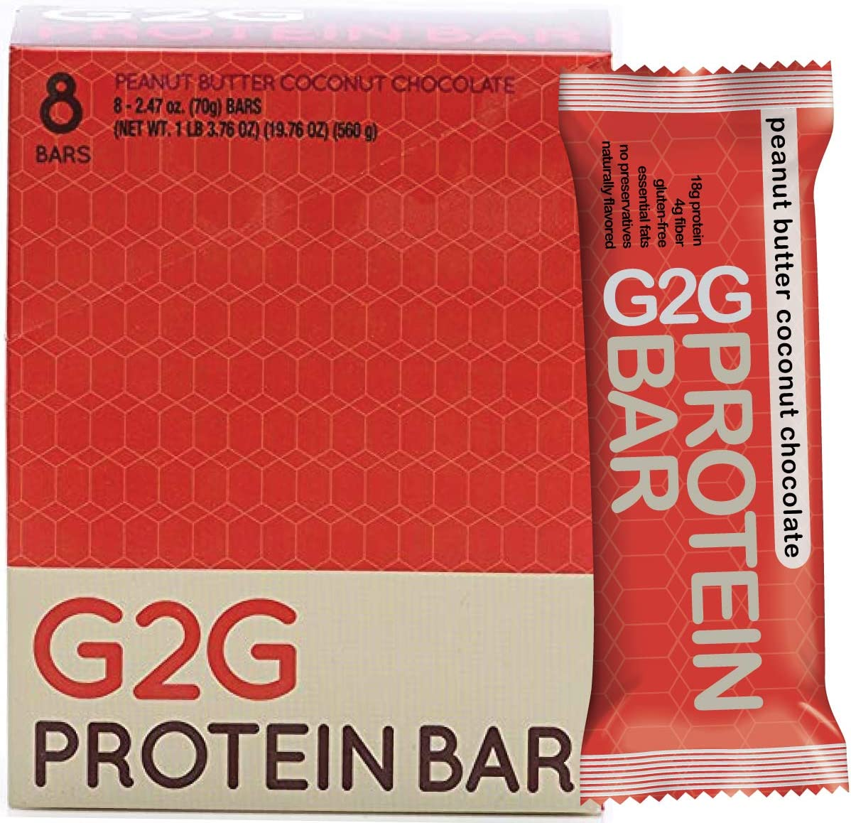 G2G Protein Bar, Peanut Butter Coconut Chocolate, 8 Count Box