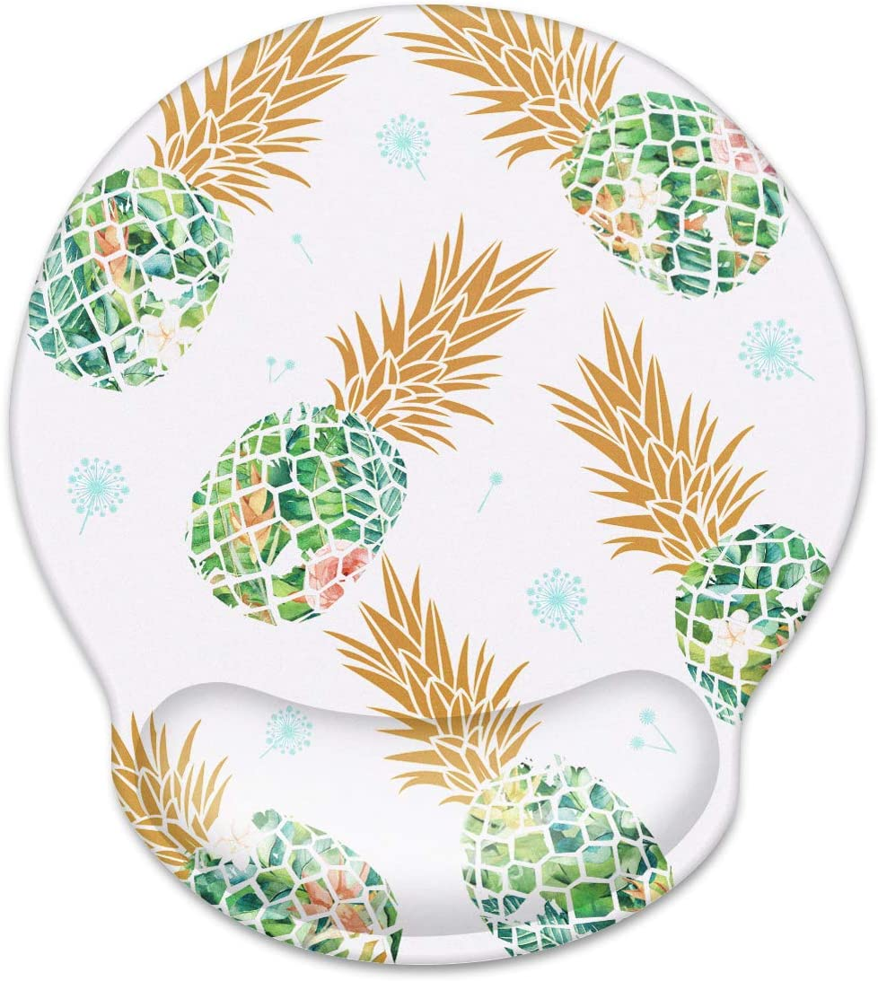 WAVEYU Mouse Pad with Wrist Support, Cute Designed Mouse Mat, Non-Slip Rubber Base Mousepad for Laptop, Computer, Green Pineapple