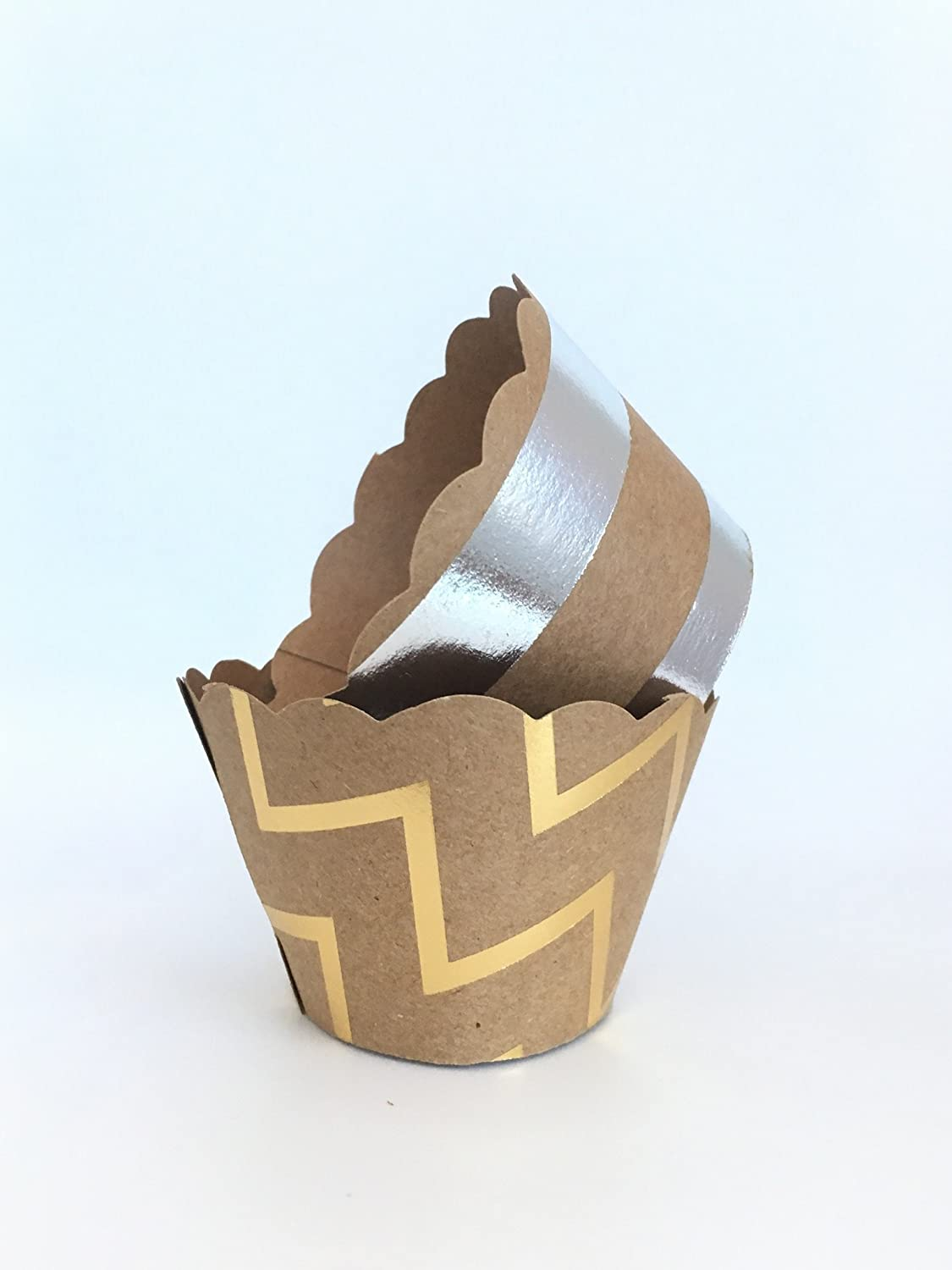 Gold and Silver Foil Mini Cupcake Wrappers