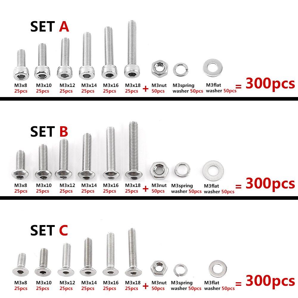 Set B Button Head 300pcs M3 304 Stainless Steel Hex Socket Screws Nuts Washer Assortment Kit walfront