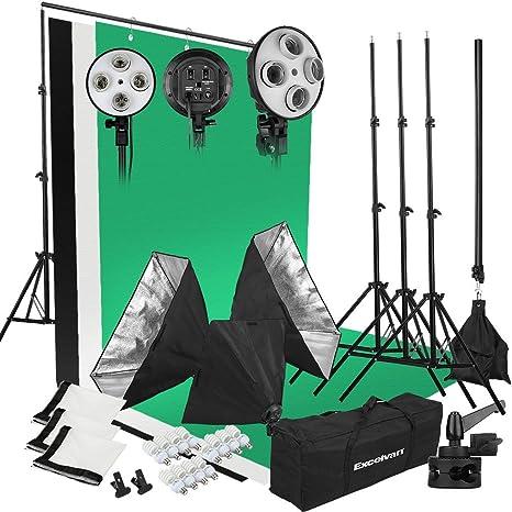 Excelvan - Kit de Profesional Iluminación Caja de Luz Softbox ...