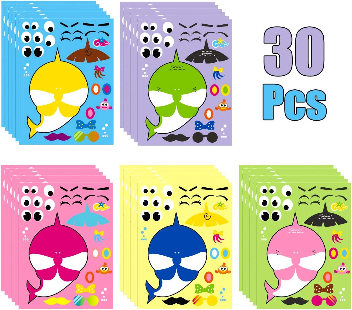 MALLMALL6 30 Sheets Little Shark Make a Face Sticker Shark Theme Birthday Party Supplies Make Your Own Shark Stickers Party Favors Shark Decorations Decals DIY Art Craft Party Game for Kids Boys Girls