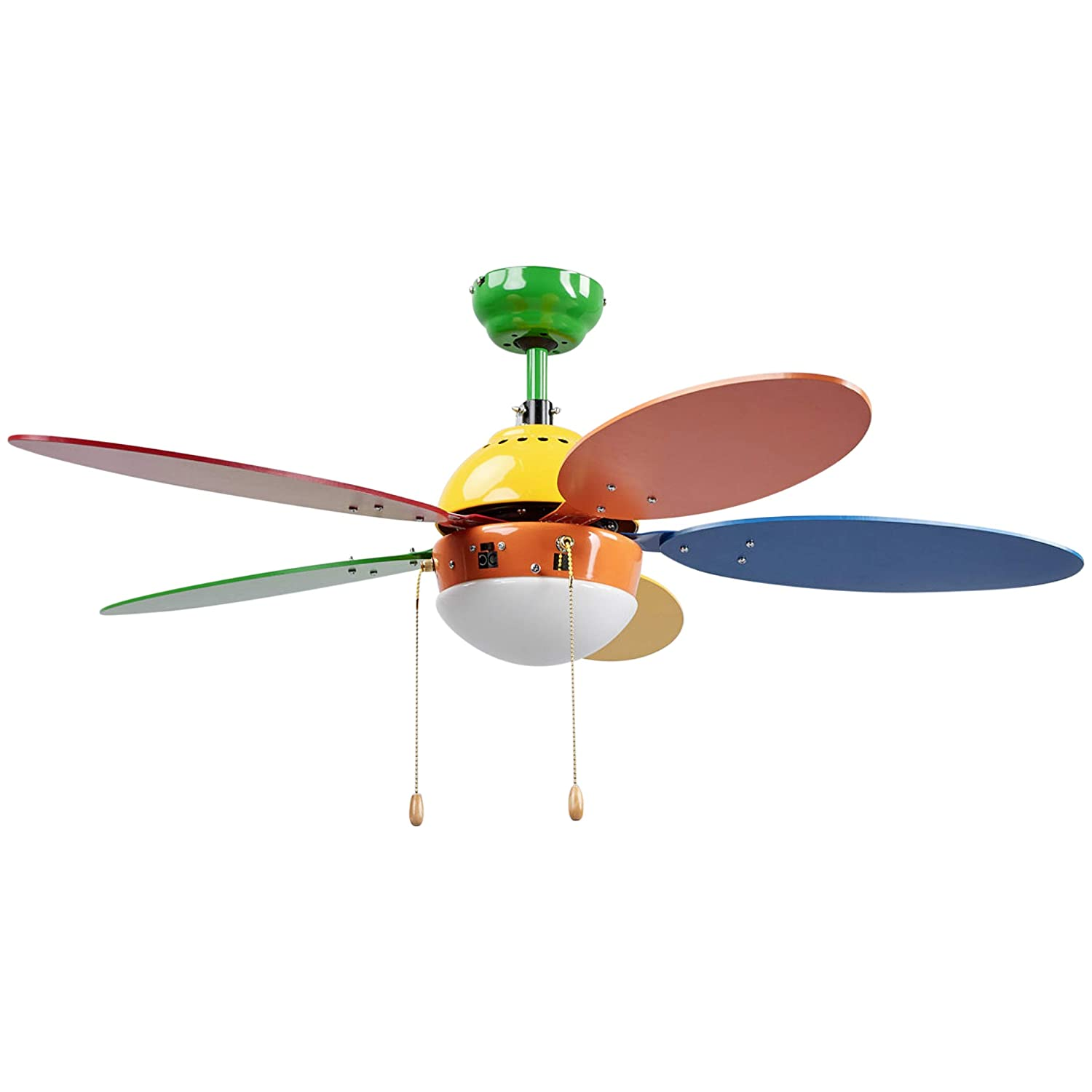 Ceiling Fans with Lighting'Corinna' (for Children, Young Lifestyle) in Multi-Colored Made of Wood for e.g. Children's Room (1 Light Source, E14, A++) from Lampenwelt Young Lifestyle) in Multi-Colored Made of Wood for e.g. Children' s Room (1 Light Sour