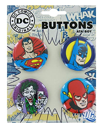 150fab70 Image Unavailable. Image not available for. Color: Dc Comics Button Set  Featuring: Batman, Superman, The Joker and ...